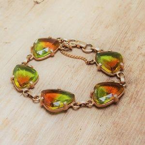 Green & Orange Iridescent Glass Cabochon Bracelet